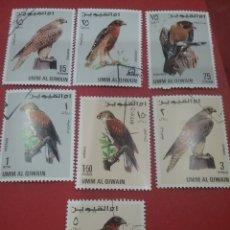 Sellos: SELLO UMM AL QIWAIM (E.A.U) MTDO/1968/HALCONES/ANIMALES/FAUNA/AVES/PAJAROS/AGUILA/DEPREDADOR/CARROÑE. Lote 260718360