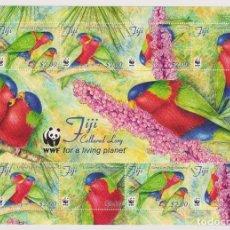 Sellos: ⚡ DISCOUNT FIJI 2012 WORLD WILDLIFE FUND - BIRDS MNH - PARROTS. Lote 261239905