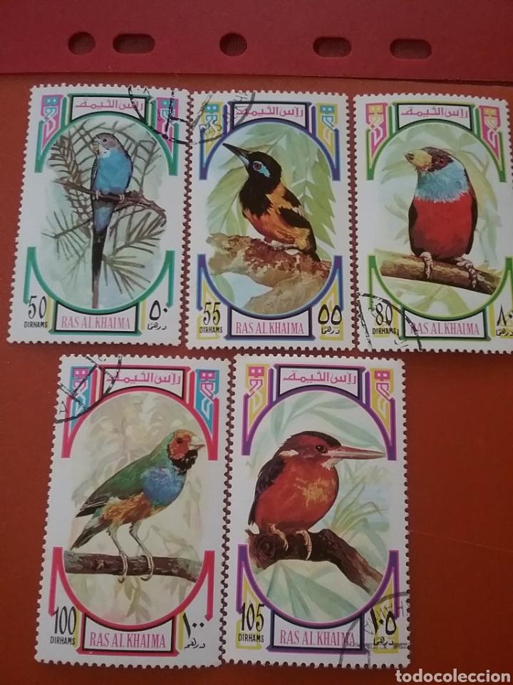 SELLO RAS AL KHAIMA MTDO (E.A.U)/1972/5 DE 6V/AVES/PAJAROS/FAUNA/ANIMALES/FLORA/ARBOLES/ (Sellos - Temáticas - Aves)