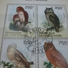 Timbres: HB COSTA MARFIL (COTE D,IVOIRE) MTDOS/2014/FAUNA/ANIMALES/SALVAJES/AVES/PAJAROS/BUHO/MOCHUELO/HALCON. Lote 269285793
