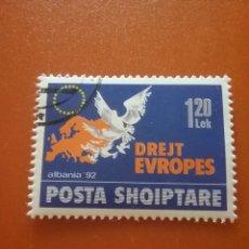 Timbres: SELLO ALBANIA MTDO/1992/HACIA/EUROPA/PAJAROS/PALOMAS/AVES/ANIMALES/EMBLEMA/ESTRELLAS/LEER DESCRIPCIO. Lote 275070733