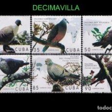 Sellos: FAAV309, CUBA, AVES, PALOMAS, 2020, SERIE Y HOJA-BLOQUE. Lote 277015883