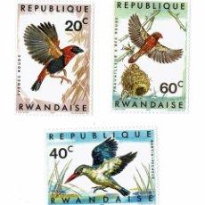 Sellos: 3 SELLOS AVES DE RUANDA / REPUBLIQUE RWANDAISE / CON CHARNELA. Lote 279390248