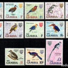 Sellos: GAMBIA 1966 - SERIE PAJAROS COMPLETA - YVERT Nº 208/220**. Lote 279445153