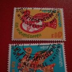 Sellos: SELLO NACIONES UNIDAS (VIENA) MTDO/1996/PAZ/PALOMA/AVE/PAJARO/ANIMALES/FLORES/RAMO/NATURALEZA/. Lote 287865498