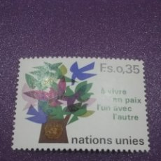 Sellos: SELLO NACIONES UNIDAS (GINEBRA) NUEVO/1978/PAZ/ARBOL/PLANTA/FLORA/FLORES/AVES/PAJAROS/ANIMALES/PALOM. Lote 288366558