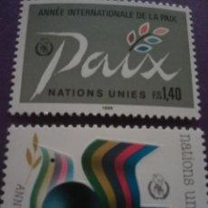 Sellos: SELLO NACIONES UNIDAS (GINEBRA) NUEVO/1986/AÑO/INTER/PAZ/PALOMA/AVE/PAJARO/LAUREL/ANIMALES/EMBLEMA/B. Lote 288476338