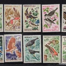 Sellos: MONACO 581/90** - AÑO 1962 - FAUNA - AVES. Lote 289335668