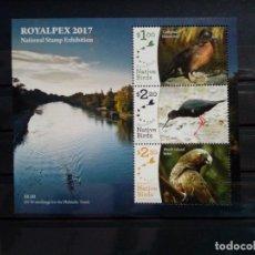 Sellos: NUEVA ZELANDA ** EXPOSICION PAJAROS AVES ROYALPEX 2017. Lote 294078508