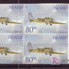 Sellos: ISLANDIA CARNET 913B** - AÑO 2001 - AVIONES - TF-SUX KLEMMINN. Lote 21543009