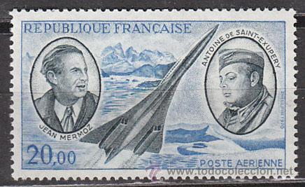FRANCIA AEREO IVERT Nº 44, MERMOZ Y SAINT EXUPERY, PIONEROS DEL CORREO AEREO, NUEVO (Sellos - Temáticas - Aviones)
