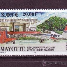 Sellos: MAYOTTE AEREO 5** - AÑO 2001 - AERO CLUB DE DZAAOUDZI - AVIONES. Lote 27637458