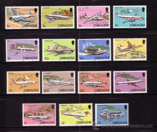 GIBRALTAR 439/53*** - AÑO 1982 - AVIONES E HIDROAVIONES (Sellos - Temáticas - Aviones)