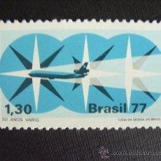 Francobolli: BRASIL Nº YVERT 1296*** AÑO 1977. 30 ANIVERSARIO COMPAÑIA AEREA VARIG. Lote 127681784