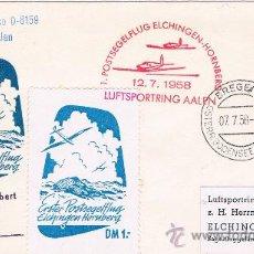 Sellos: BREGEN A ELCHINGEN (ALEMANIA). SOBRE CON SELLO DE AUSTRIA Y VIÑETAS AEREAS. Lote 35808999