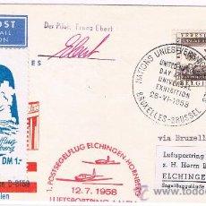 Sellos: 1958. BRUSELAS A ELCHINGEN (ALEMANIA). SOBRE CIRCULADO CON SELLO DE BELGICA . Lote 35809189