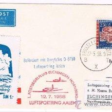 Sellos: 1958. BRUSELAS A ALEMANIA CIRCULADA CON SELLO Y VIÑETA AEREA. Lote 35809250
