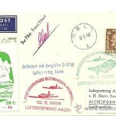 Sellos: 1958. SOBRE CON SELLO DE NORUEGA Y MATASELLOS ESPECIALES DE AVIACIÓN. Lote 35813587
