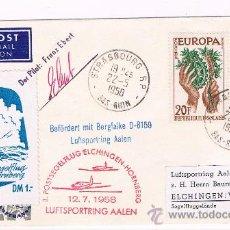 Sellos: 1958. ESTRASBURGO A ALEMANIA. SOBRE CON SELLOS DEL TEMA EUROPA Y MATASELLOS AVIÓN. Lote 35853651