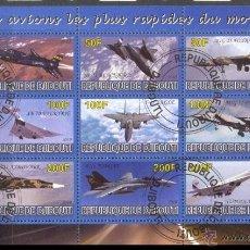 Sellos: DJIBOUTI 2010 HOJA BLOQUE SELLOS AVION - AVIONES - AEROPLANOS- AIRCRAFT. Lote 56165620