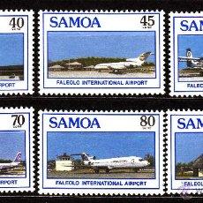 Sellos: SAMOA 649/54** - AÑO 1988 - AVIONES - AEREOPUERTO INTERNACIONAL DE FALEOLO. Lote 40490031