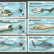 Sellos: NICARAGUA 1988 LOTE DE SELLOS AVIACION - HELICOPTEROS- EXPOSICION FILATELICA FINLANDIA 88. Lote 41725094