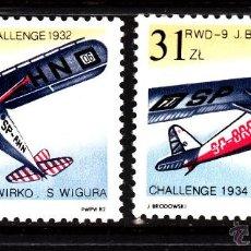 Sellos: POLONIA 2620/21** - AÑO 1982 - AVIONES - VICTORIAS POLACAS EN LA CHALLENGE AEREA EUROPEA. Lote 42023108