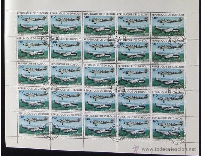 DJIBOUTI 1979 BLOQUE 25 SELLOS 75 ANIVERSARIO AVIACION- AVION- AVIONES- JUNKERS- DEWOITINE (Sellos - Temáticas - Aviones)