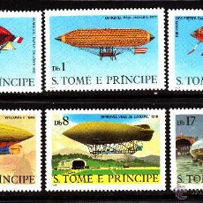 Sellos: SANTO TOME 578/83** - AÑO 1980 - HISTORIA DE LA AVIACION - DIRIGIBLES. Lote 43955744