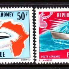 Sellos: DAHOMEY AEREO 147/48** - AÑO 1971 - AVIONES - BARCOS - EUROPAFRICA. Lote 45001055
