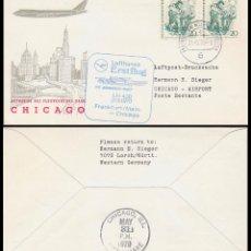 Sellos: ALEMANIA BERLIN, PRIMER VUELO FRANKFURT-CHICAGO EN BOEING 747 POR LUFHANSA EL 31-5-1970. Lote 48905992