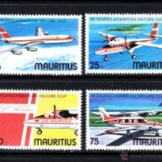Sellos: MAURICIO 436/39** - AÑO 1977 - AVIONES - VUELO INAUGURAL DE AIR MAURITIUS. Lote 50952988