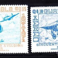 Sellos: GUATEMALA AEREO 474/75** - AÑO 1971 - AVIONES - 50º ANIVERSARIO DE LA AVIACION MILITAR. Lote 51818245