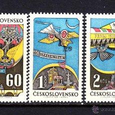 Sellos: CHECOSLOVAQUIA AEREO 68/70** - AÑO 1968 - AVIONES - HISTORIA DE LA AVIACION. Lote 52128332