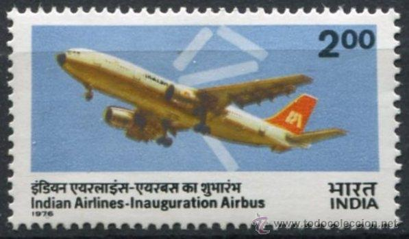 Sellos: INDIA 1976 YVERT 503** INDIAN AIRLINES-INAGURACION AIRBUS - Foto 1 - 53691321