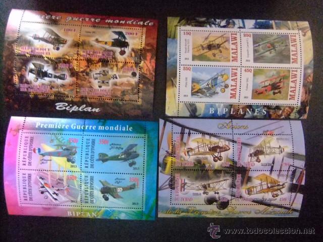 REPUBLIQUE DE DJIBOUTI + CÔTE D´IVOIRE + MALAWI + TCHAD 2013 AVIONS (WW1 GUERRA MUNDIAL) NUEVOS ** (Sellos - Temáticas - Aviones)