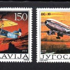 Sellos: YUGOSLAVIA 2092/93** - AÑO 1987- AVIONES - 60º ANIVERSARIO DE LA AVIACION CIVIL EN YUGOSLAVIA. Lote 58420573