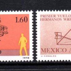 Sellos: MEXICO AEREO 492/93** - AÑO 1978 - AVIONES - 75º ANIVERSARIO DEL VUELO DE LOS HERMANOS WRIGHT. Lote 59736004