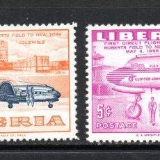 Sellos: LIBERIA 340/41** - AÑO 1957 - AVIONES - VUELO INAUGURAL ROBERTSFIELD - NUEVA YORK. Lote 118870530