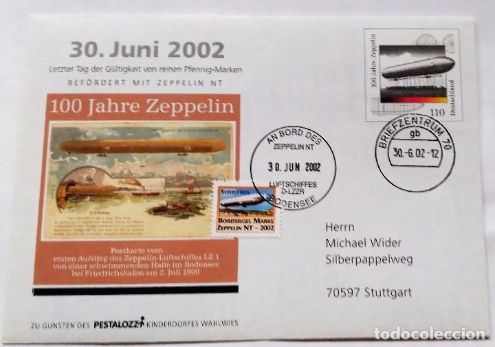 SOBRE CON SELLO CONMEMORATIVO 100 AÑOS ZEPPELIN - 30 JUNIO 2002 - EDICION ESPECIAL (Sellos - Temáticas - Aviones)