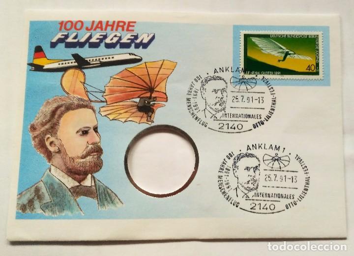 SOBRE CON SELLO EDICION ESPECIAL AVION PLANEADOR LILIENTHAL 1891 - 100 AÑOS VOLANDO ( 1978 ) (Sellos - Temáticas - Aviones)