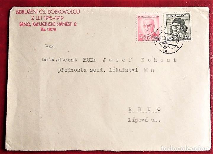 CHECOSLOVAQUIA. SOBRE CIRCULADO CON EL SELLO: 393 CAPITÁN VASATKO. 1945 + 407 PRESIDENTE MASARYK. 1 (Sellos - Temáticas - Aviones)