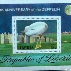 Sellos: DIRIGIBLE ZEPPELIN HOJA BLOQUE DE SELLOS NUEVOS AUTÉNTICOS DE LIBERIA. Lote 98346516