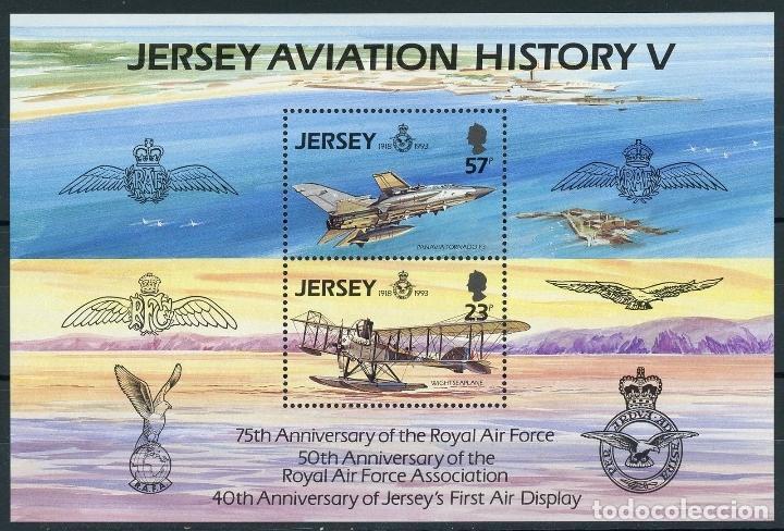 JERSEY 1993 HB IVERT 7 *** HISTORIA DE LA AVIACIÓN - 75º ANIVERSARIO DE LA ROYAL AIR FORCE - AVIONES (Sellos - Temáticas - Aviones)