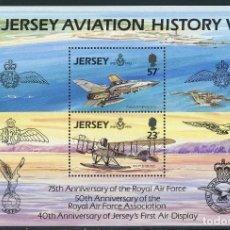 Sellos: JERSEY 1993 HB IVERT 7 *** HISTORIA DE LA AVIACIÓN - 75º ANIVERSARIO DE LA ROYAL AIR FORCE - AVIONES. Lote 100281975