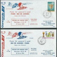 Sellos: AIR FRANCE CONCORDE AF 085/86 PRIMER VUELO PARIS-RIO DE JANEIRO-PARIS ESCALE DAKAR YOFF 22/1/1976. Lote 102495315