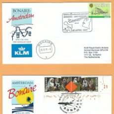Sellos: PRIMER VUELO KLM AMSTERDAM-BONAIRE / BONAIRE AMSTERDAM 20/21-4-1991 . Lote 102495715