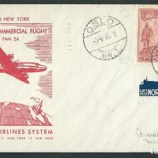 Sellos: AMERICAN AIRLINES SYSTEM PRIMER VUELO OSLO TO NEW YORK APR-7-1946. Lote 102496343