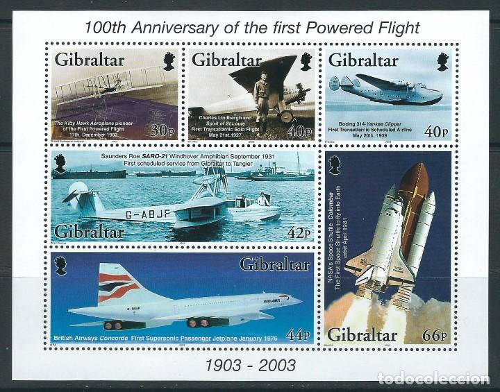 GIBRALTAR 2003** 100TH ANNIVERSARY OF THE FIRST POWERED FLIGHT (Sellos - Temáticas - Aviones)