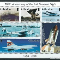 Sellos: GIBRALTAR 2003** 100TH ANNIVERSARY OF THE FIRST POWERED FLIGHT. Lote 197912707